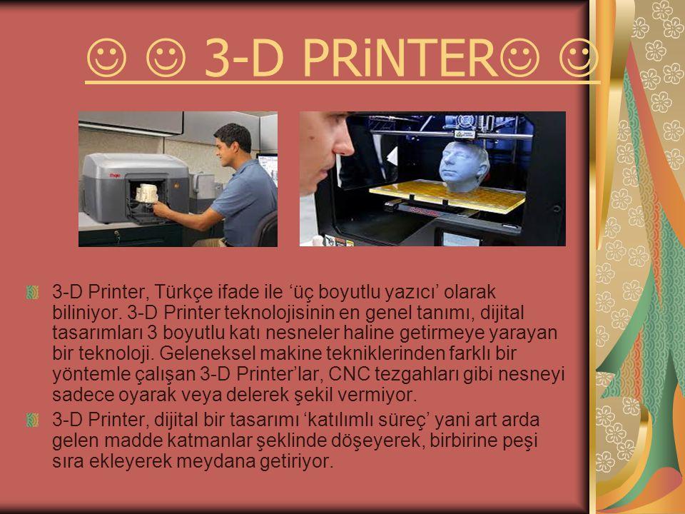 3-D PRiNTER 3-D Printer, Türkçe ifade ile 'üç boyutlu yazıcı' olarak biliniyor.
