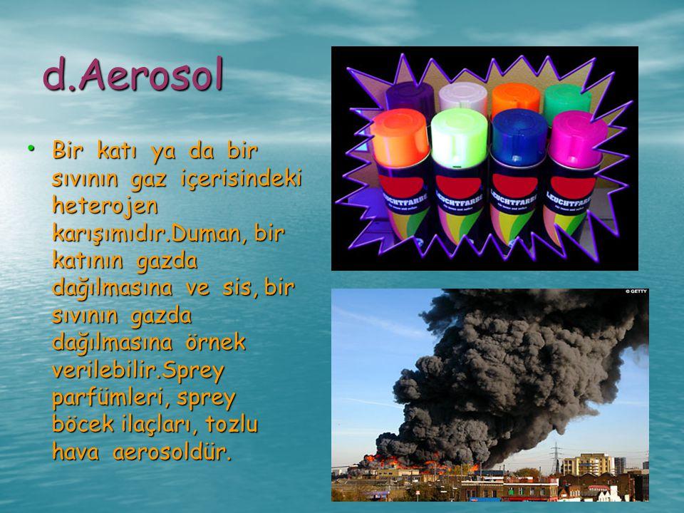 d.Aerosol Bir katı ya da bir sıvının gaz içerisindeki heterojen karışımıdır.Duman, bir katının gazda dağılmasına ve sis, bir sıvının gazda dağılmasına
