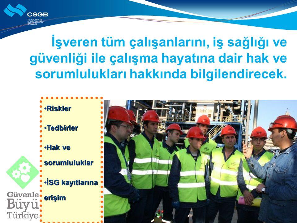 Çalışanlar işyerlerindeki iş sağlığı ve güvenliği faaliyetlerine aktif katılım sağlayacak.