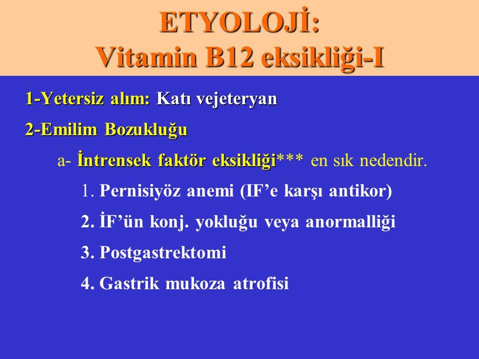 ETYOLOJİ: Vitamin B12 eksikliği-I 1-Yetersiz alım: Katı vejeteryan 2-Emilim Bozukluğu İntrensek faktör eksikliği a- İntrensek faktör eksikliği*** en s