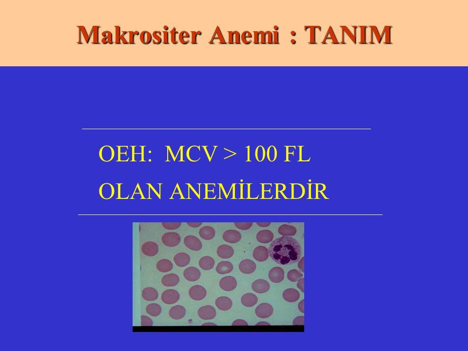 Makrositer Anemi : TANIM OEH: MCV > 100 FL OLAN ANEMİLERDİR