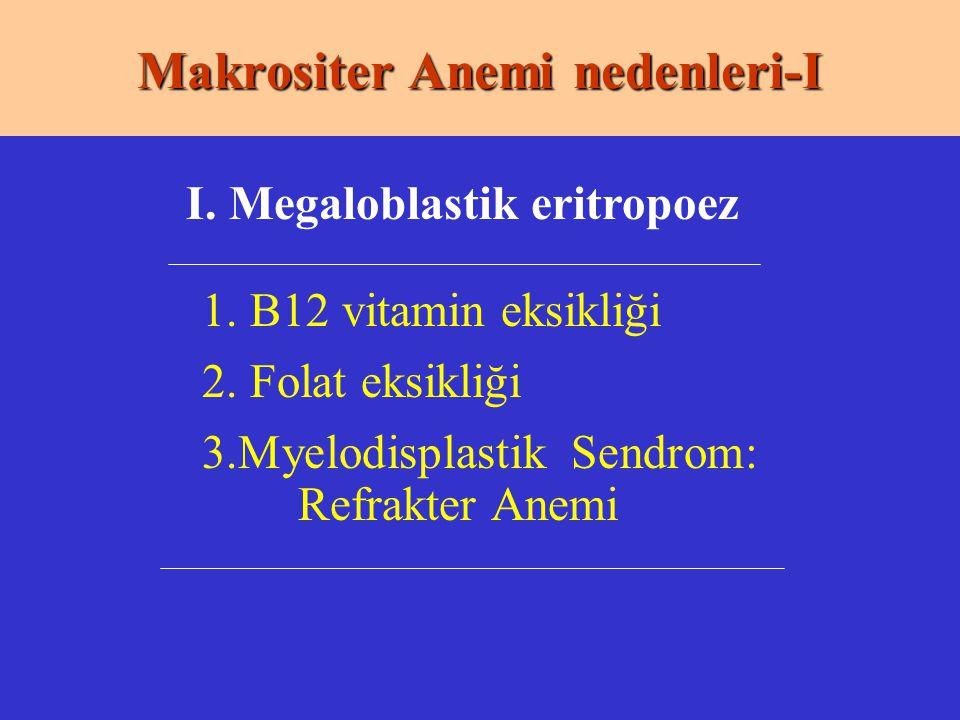 Makrositer Anemi nedenleri-I 1. B12 vitamin eksikliği 2. Folat eksikliği 3.Myelodisplastik Sendrom: Refrakter Anemi I. Megaloblastik eritropoez