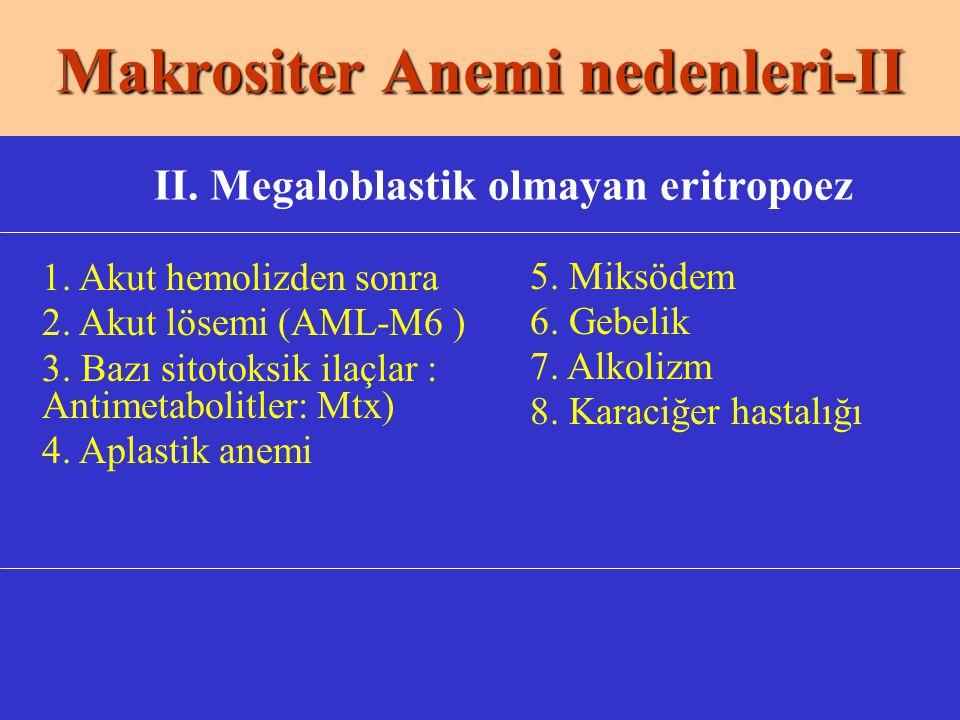 Makrositer Anemi nedenleri-II II. Megaloblastik olmayan eritropoez 1. Akut hemolizden sonra 2. Akut lösemi (AML-M6 ) 3. Bazı sitotoksik ilaçlar : Anti