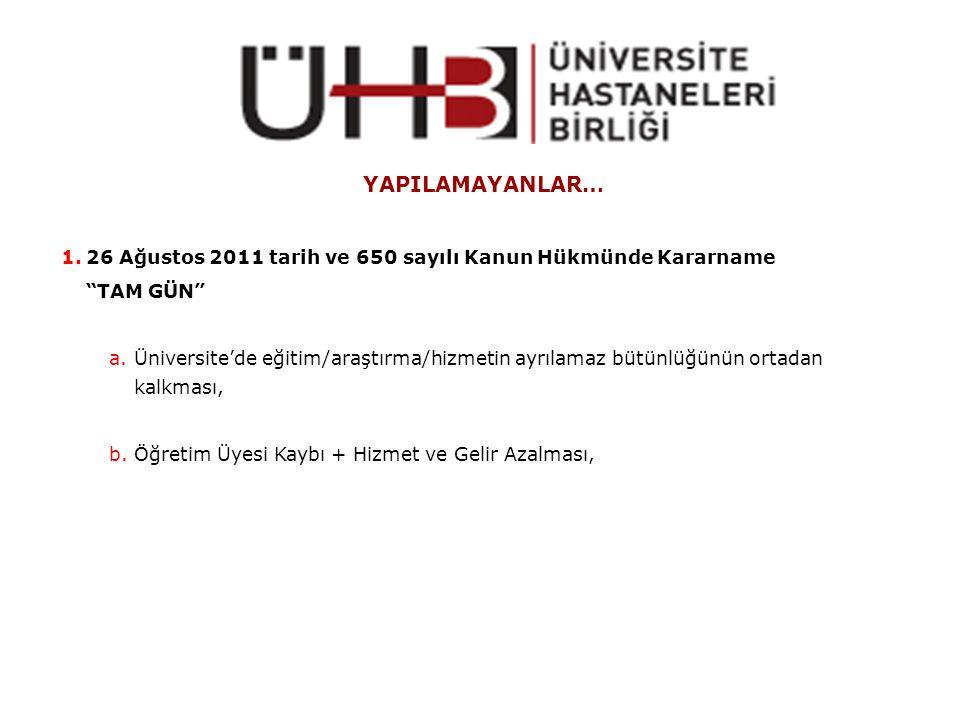 """YAPILAMAYANLAR… 1.26 Ağustos 2011 tarih ve 650 sayılı Kanun Hükmünde Kararname """"TAM GÜN"""" a.Üniversite'de eğitim/araştırma/hizmetin ayrılamaz bütünlüğü"""