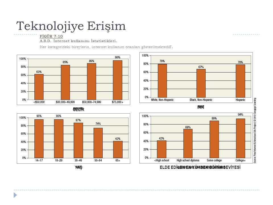 Teknolojiye Erişim FİGÜR 7-10 A.B.D.İnternet kullanımı İstatistikleri.