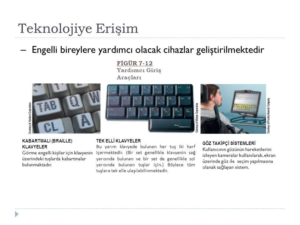 Teknolojiye Erişim KABARTMALI (BRAILLE) KLAVYELER Görme engelli kişiler için klavyenin üzerindeki tuşlarda kabartmalar bulunmaktadır.