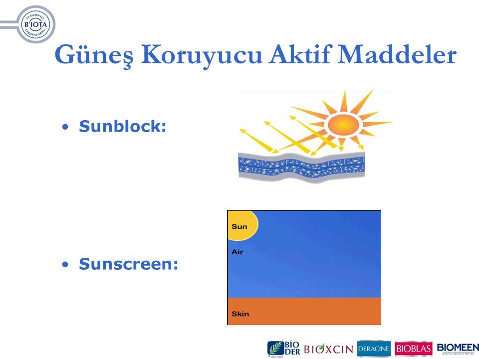 Güneş Koruyucu Aktif Maddeler Sunblock: Sunscreen: