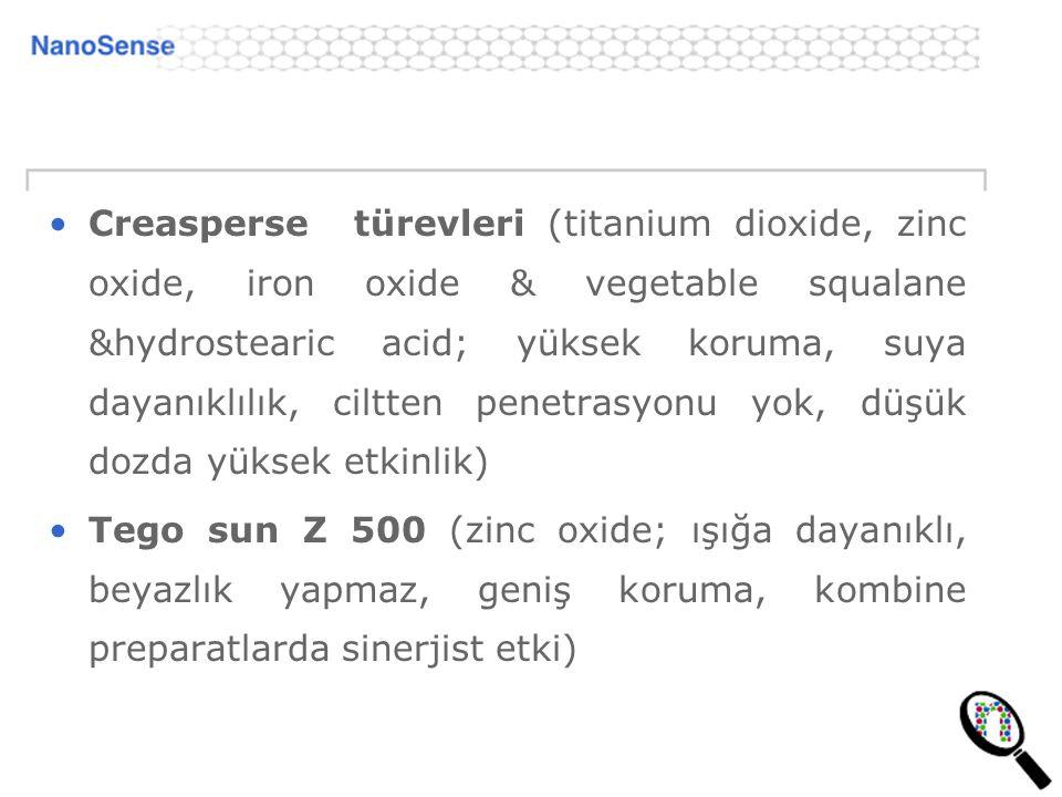 Creasperse türevleri (titanium dioxide, zinc oxide, iron oxide & vegetable squalane &hydrostearic acid; yüksek koruma, suya dayanıklılık, ciltten pene