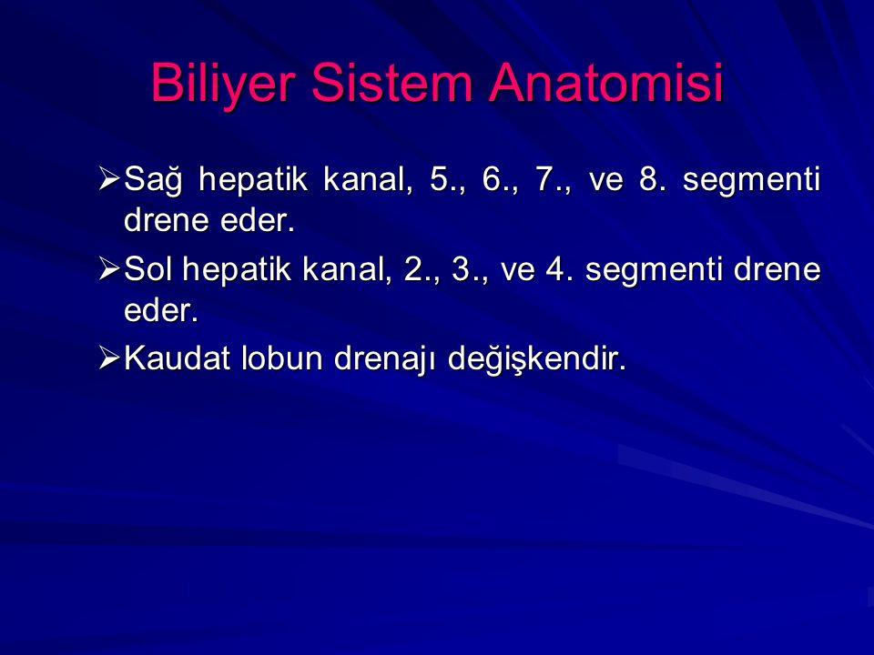 Biliyer Sistem Anatomisi  Sağ hepatik kanal, 5., 6., 7., ve 8. segmenti drene eder.  Sol hepatik kanal, 2., 3., ve 4. segmenti drene eder.  Kaudat