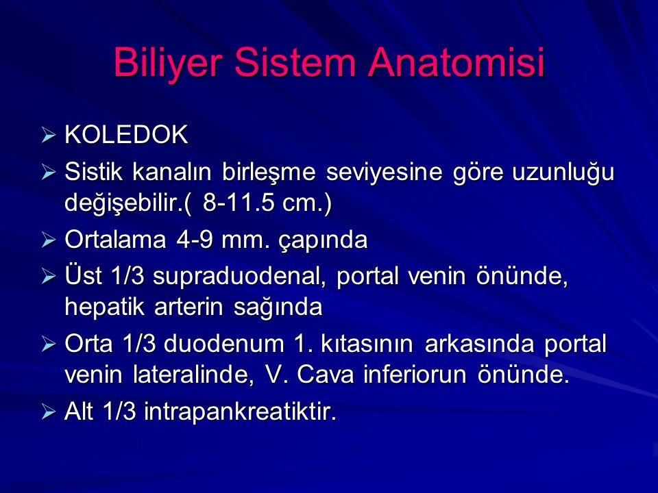 Biliyer Sistem Anomalileri  Klasik ekstrahepatik biliyer pasaj ve arteryel paterni 1/3 oranında gözlenir.
