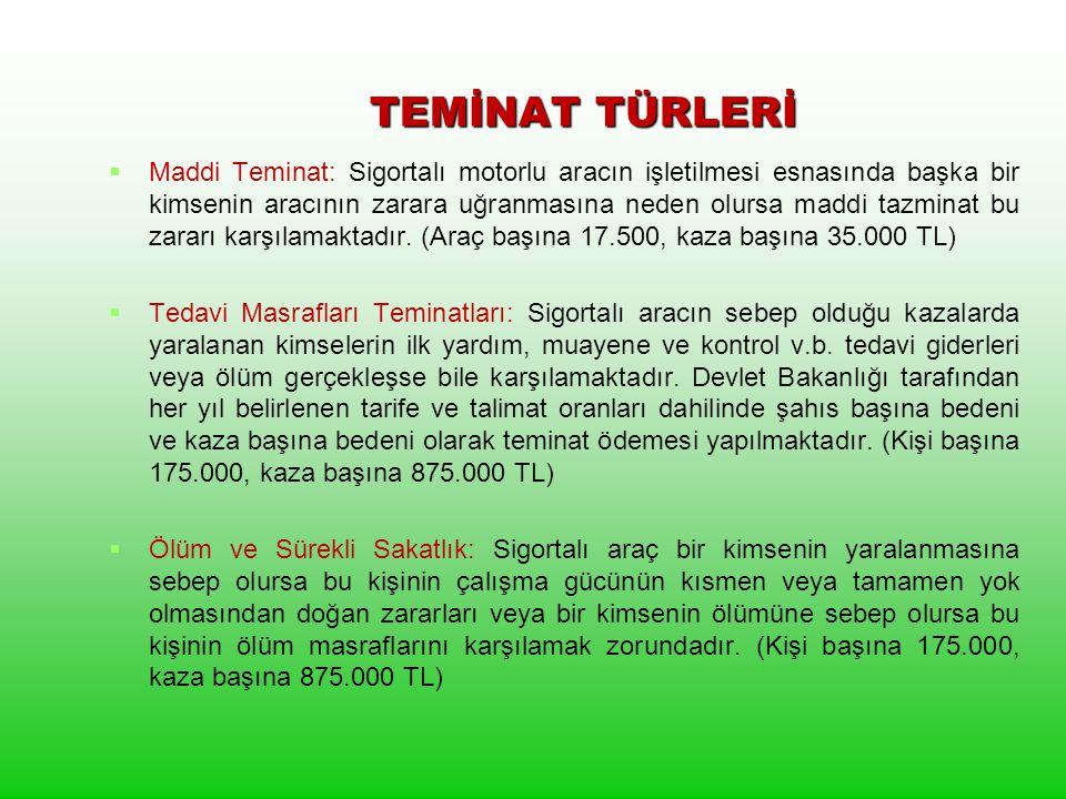 TEMİNAT TÜRLERİ TEMİNAT TÜRLERİ   Maddi Teminat: Sigortalı motorlu aracın işletilmesi esnasında başka bir kimsenin aracının zarara uğranmasına neden olursa maddi tazminat bu zararı karşılamaktadır.