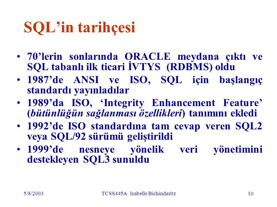 5/8/2003TCSS445A Isabelle Bichindaritz11 SQL komutlarının yazılışı SQL cümlesi anahtar kelimelerden (reserved words) ve kullanıcı tanımlı kelimelerden oluşmaktadır (User-defined words).