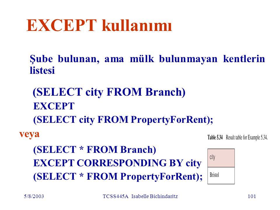 5/8/2003TCSS445A Isabelle Bichindaritz102 EXCEPT kullanımı Aynı sorgu böyle de yazıla bilir: SELECT DISTINCT city FROM Branch WHERE city NOT IN (SELECT city FROM PropertyForRent); veya SELECT DISTINCT city FROM Branch b WHERE NOT EXISTS (SELECT * FROM PropertyForRent p WHERE p.city = b.city);