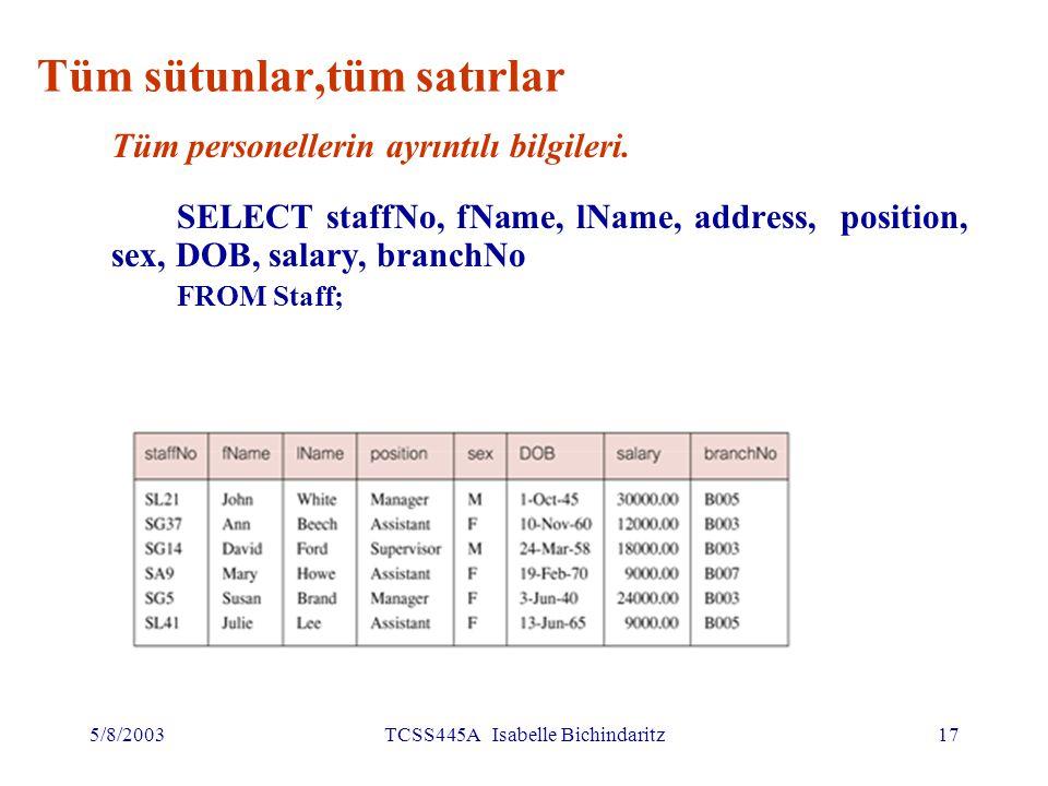 5/8/2003TCSS445A Isabelle Bichindaritz18 Tüm sütunlar, tüm satırlar (devamı) * simgesi 'tüm sütunlar' anlamında kullanılır SELECT * FROM Staff;