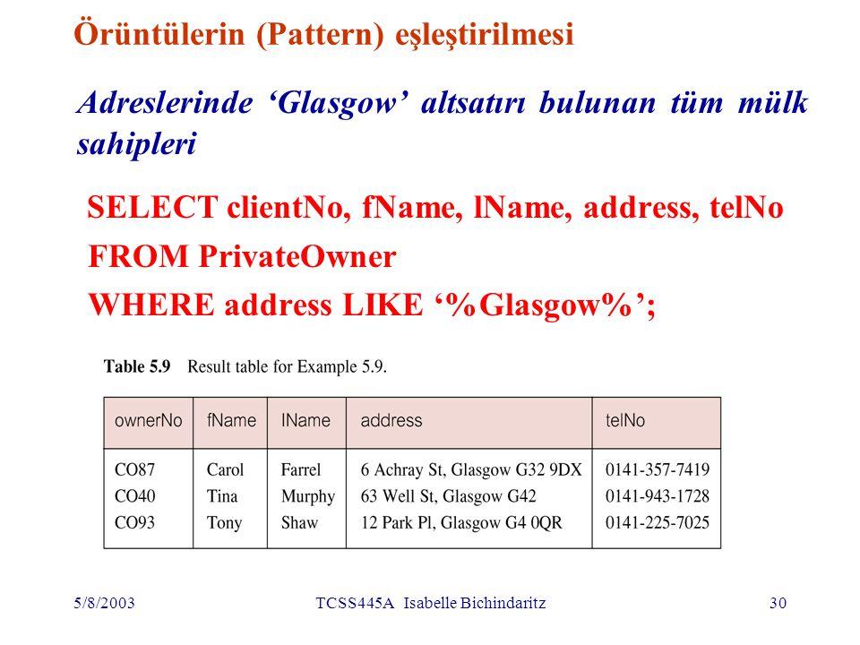 5/8/2003TCSS445A Isabelle Bichindaritz31 Örüntülerin karşılaştırılması SQL'de örüntüleri karşılaştırmak için 2 özel simge kullanılıyor: –%: sıfır veya daha fazla karakter; –_ (alt çizgi): her hangi sayıda karakter LIKE '%Glasgow%'- 'Glasgow' altsatırını içeren, herhangi uzunlukta karakterler ardışıklığını ifade ediyor