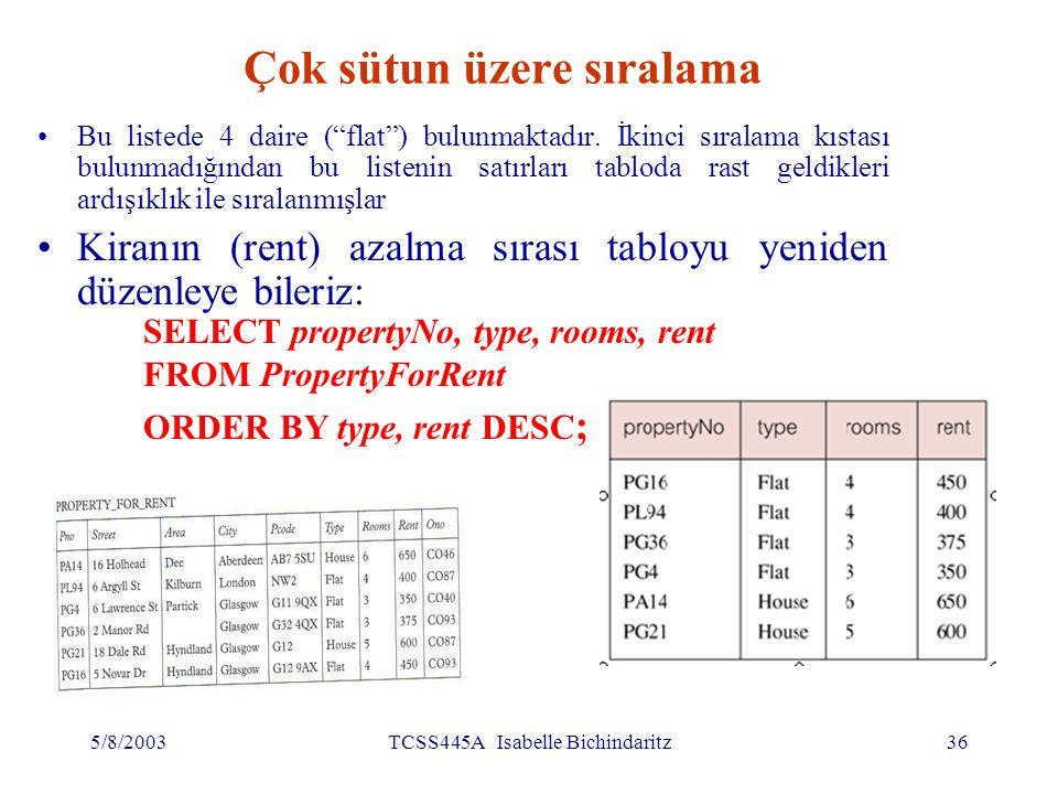 5/8/2003TCSS445A Isabelle Bichindaritz37 SELECT yantümce – Kümeleme (Aggregate) ISO standardı 5 kümeleme fonksiyonunu tanımlar: COUNT belirtilmiş sütundaki değerler sayısı SUMbelirtilmiş sütundaki değerlerin toplamı AVGbelirtilmiş sütundaki değerlerin ortalaması MINbelirtilmiş sütundaki en küçük değer MAXbelirtilmiş sütundaki en büyük değer