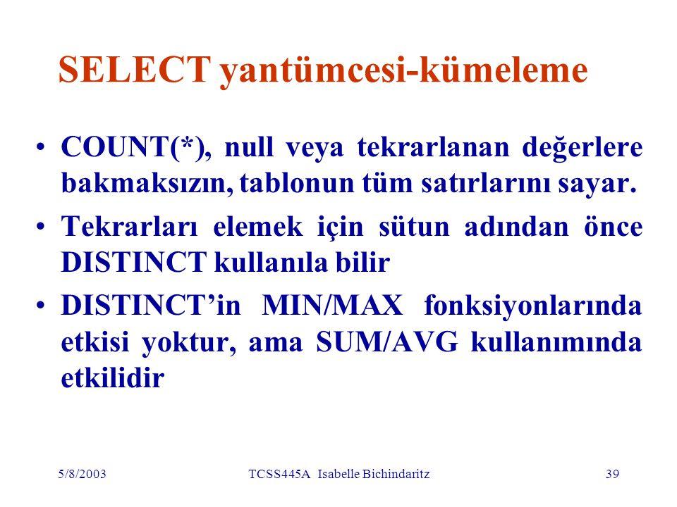 5/8/2003TCSS445A Isabelle Bichindaritz40 SELECT yantümcesi-kümeleme Kümeleme fonksiyonları yalnız SELECT listesinde ve HAVING sözcüğünde kullanıla bilir Eğer SELECT listesinde kümeleme fonksiyonu varsa ve sorguda GROUP BY kullanılmamışsa, o zaman kümeleme fonksiyonun dışında, SELECT listesinde hiçbir sütun adı olamaz.
