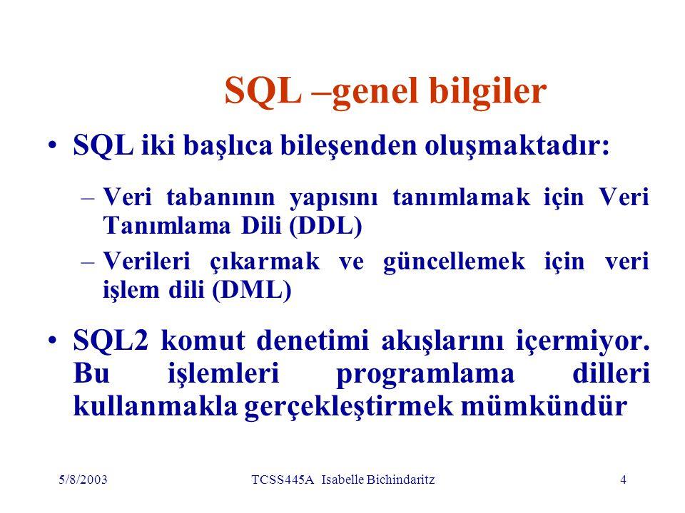 5/8/2003TCSS445A Isabelle Bichindaritz5 SQL- genel bilgiler (devamı) SQL öğrenmek kolaydır: –Yordamsal olmayan dildir – hangi bilginin gerektiğinin belirlenmesi yeterlidir, bu bilginin nasıl alındığının gösterilmesine ihtiyaç yoktur; –Serbest biçimlidir (free-format)