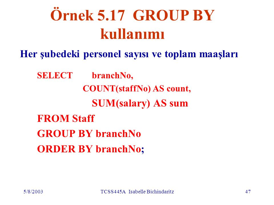 5/8/2003TCSS445A Isabelle Bichindaritz48 GROUP BY kullanımı