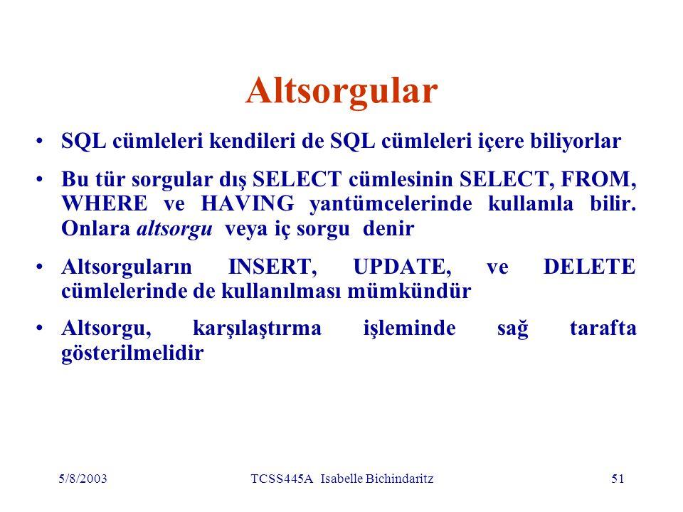 5/8/2003TCSS445A Isabelle Bichindaritz52 Altsorgular (devamı) ORDER BY sözcüğü altsorgularda kullanılamaz (dış SELECT'te kullanıla bilir).