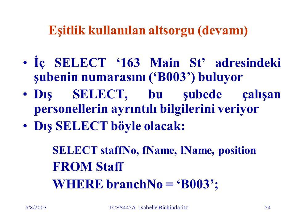 5/8/2003TCSS445A Isabelle Bichindaritz55 Eşitlik kullanılan altsorgu (devamı)