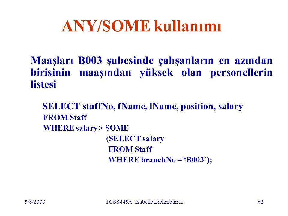 5/8/2003TCSS445A Isabelle Bichindaritz63 ANY/SOME kullanımı İç sorgu {12000, 18000, 24000} kümesini üretiyor ve dış sorgu maaşı bu kümedeki her hangi bir değerden yüksek olan personeli seçiyor
