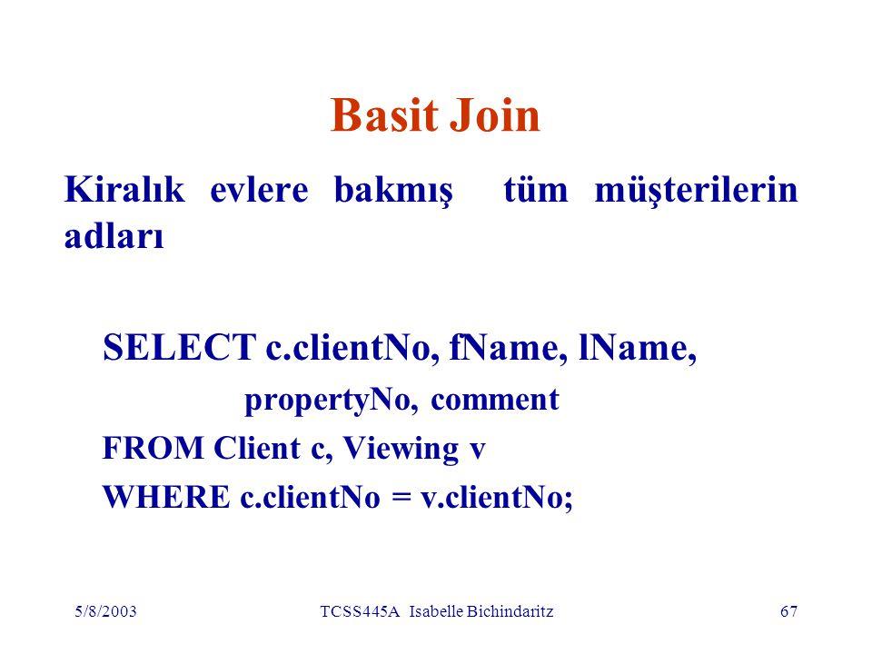 5/8/2003TCSS445A Isabelle Bichindaritz68 Basit Join Sonuç tabloda (c.clientNo = v.clientNo) koşulunu sağlayan satırlar gösterilmiştir İlişkisel cebirde equi-join işlemine eşdeğerdir