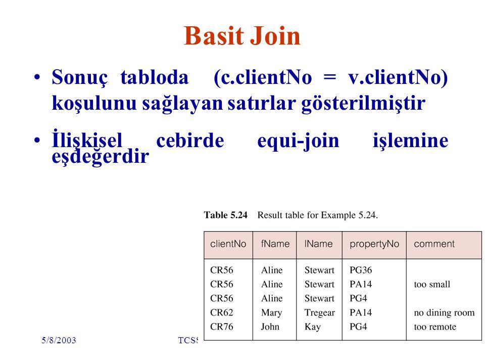 5/8/2003TCSS445A Isabelle Bichindaritz69 Diğer JOIN yapıları SQL alternatif join işlemlerini de sağlıyor FROM Client c JOIN Viewing v ON c.clientNo = v.clientNo FROM Client JOIN Viewing USING clientNo FROM Client NATURAL JOIN Viewing