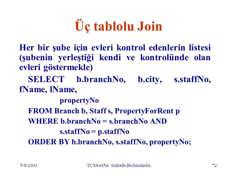 5/8/2003TCSS445A Isabelle Bichindaritz73 Üç tablolu Join Alternatif yazılış: FROM (Branch b JOIN Staff s USING branchNo) AS bs JOIN PropertyForRent p USING staffNo