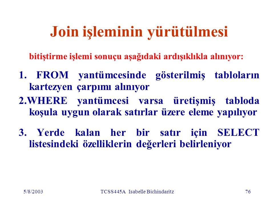 5/8/2003TCSS445A Isabelle Bichindaritz77 Join işleminin yürütülmesi 4.