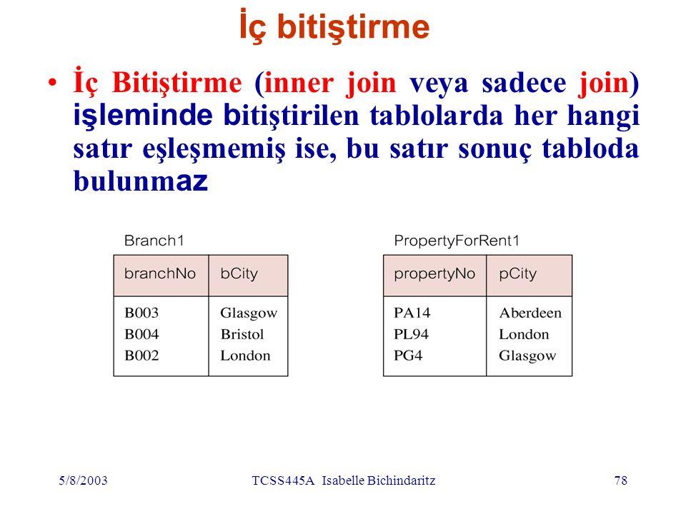 İç bitiştirme (devamı) Bu iki tablonun (iç) bitiştirmesi SELECT SELECT b.*,p.* FROM FROM branch1 b, property_for_rent1 p WHERE WHERE b.bcity=p.pcity; Property_for_rent pno pcity PA14 PL94 PG4 AberdeenLondonGlasgow BRANCH1 Bno bcity B3B4B2GlasgowBristolLondon