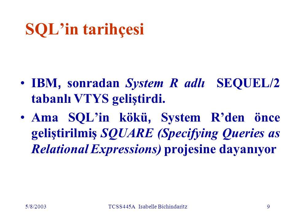 5/8/2003TCSS445A Isabelle Bichindaritz10 SQL'in tarihçesi 70'lerin sonlarında ORACLE meydana çıktı ve SQL tabanlı ilk ticari İVTYS (RDBMS) oldu 1987'de ANSI ve ISO, SQL için başlangıç standardı yayınladılar 1989'da ISO, 'Integrity Enhancement Feature' (bütünlüğün sağlanması özellikleri) tanımını ekledi 1992'de ISO standardına tam cevap veren SQL2 veya SQL/92 sürümü geliştirildi 1999'de nesneye yönelik veri yönetimini destekleyen SQL3 sunuldu