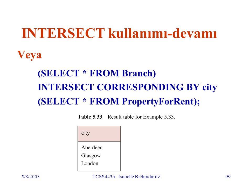 5/8/2003TCSS445A Isabelle Bichindaritz100 INTERSECT kullanımı-devamı Aynı sorgu böyle de yazıla bilir: SELECT b.city FROM Branch b PropertyForRent p WHERE b.city = p.city; veya SELECT DISTINCT city FROM Branch b WHERE EXISTS (SELECT * FROM PropertyForRent p WHERE p.city = b.city);