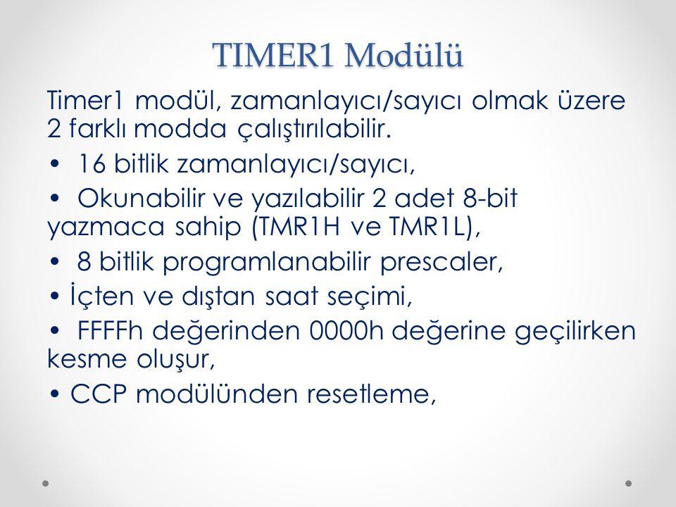 TIMER1 Modülü Timer1 modül, zamanlayıcı/sayıcı olmak üzere 2 farklı modda çalıştırılabilir. 16 bitlik zamanlayıcı/sayıcı, Okunabilir ve yazılabilir 2