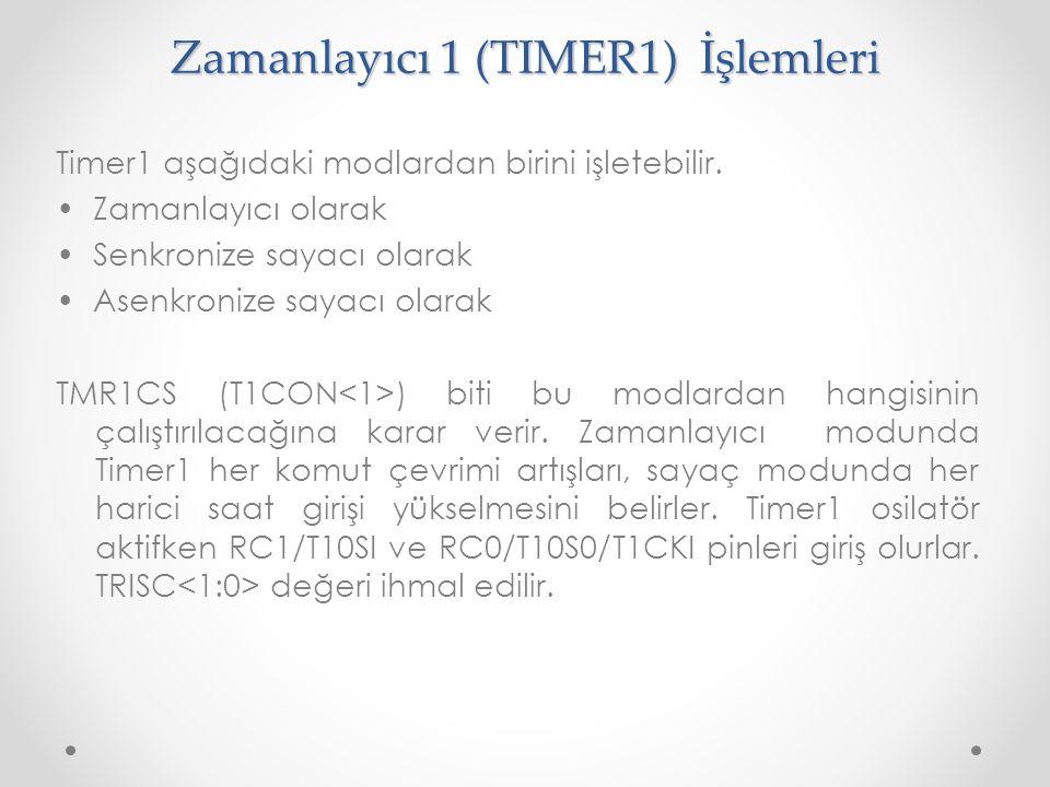 Zamanlayıcı 1 (TIMER1) İşlemleri Timer1 aşağıdaki modlardan birini işletebilir. Zamanlayıcı olarak Senkronize sayacı olarak Asenkronize sayacı olarak