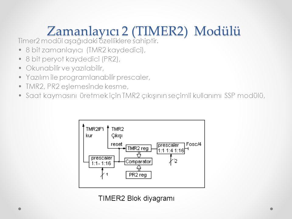 Zamanlayıcı 2 (TIMER2) Modülü Timer2 modül aşağıdaki özelliklere sahiptir. 8 bit zamanlayıcı (TMR2 kaydedici), 8 bit peryot kaydedici (PR2), Okunabili