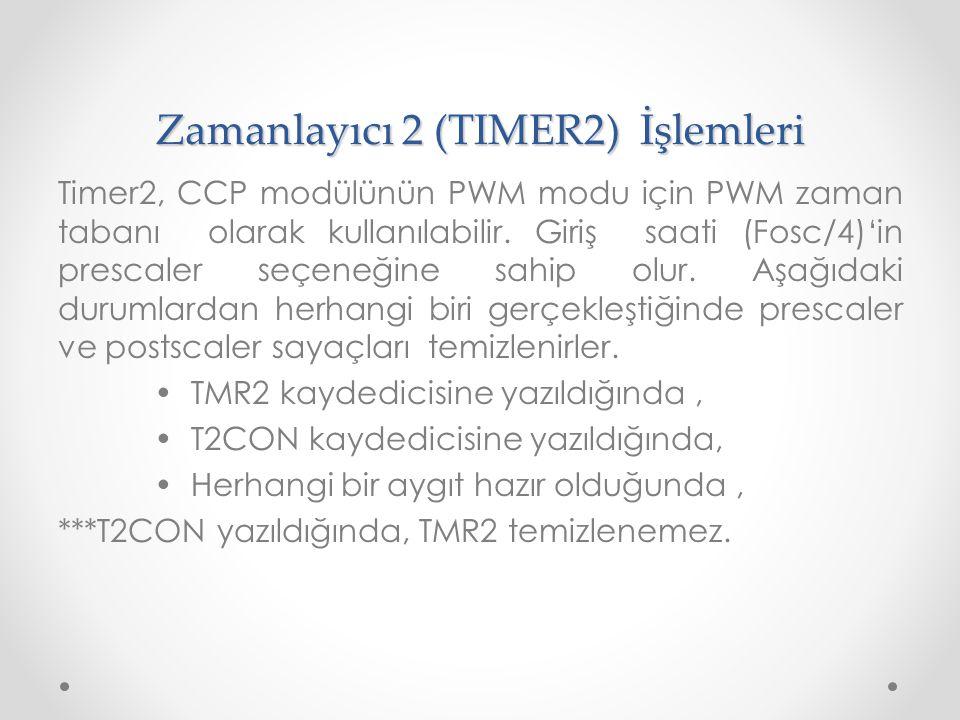 Zamanlayıcı 2 (TIMER2) İşlemleri Timer2, CCP modülünün PWM modu için PWM zaman tabanı olarak kullanılabilir. Giriş saati (Fosc/4)'in prescaler seçeneğ