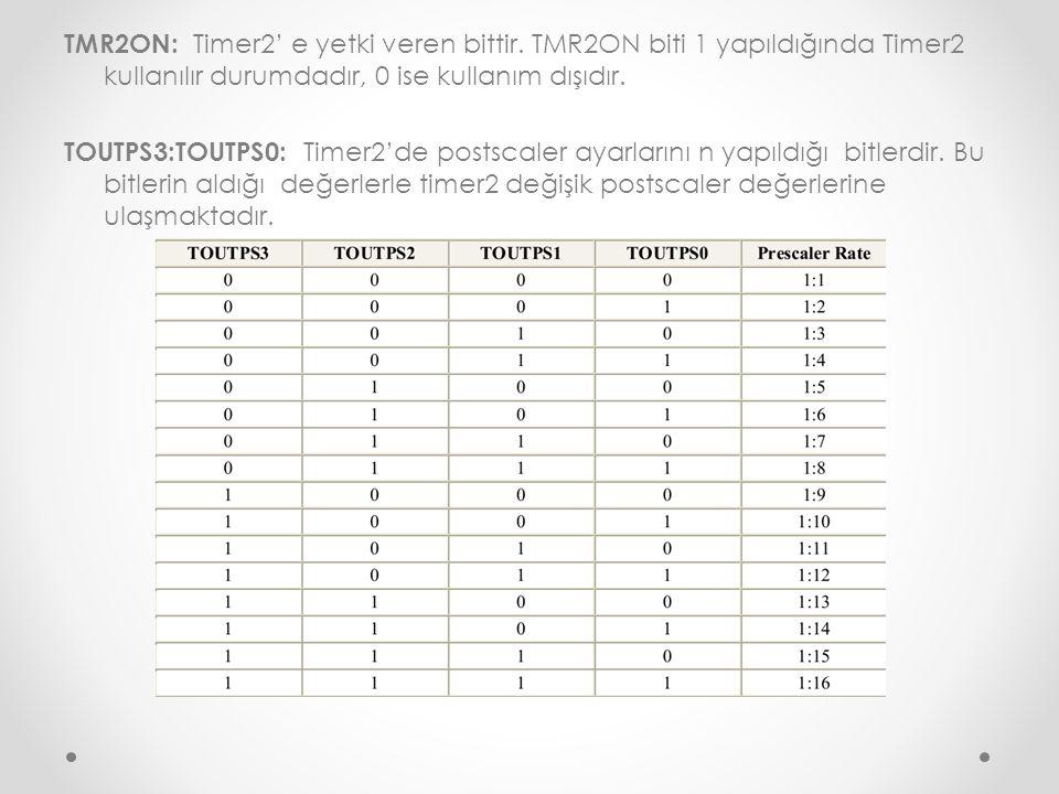 TMR2ON: Timer2' e yetki veren bittir. TMR2ON biti 1 yapıldığında Timer2 kullanılır durumdadır, 0 ise kullanım dışıdır. TOUTPS3:TOUTPS0: Timer2'de post