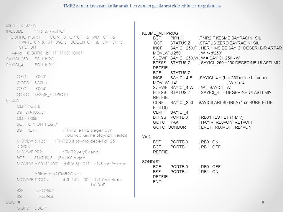 TMR2 zamanlayıcısını kullanarak 1 sn zaman gecikmesi elde edilmesi uygulaması LIST P=16F877A INCLUDE