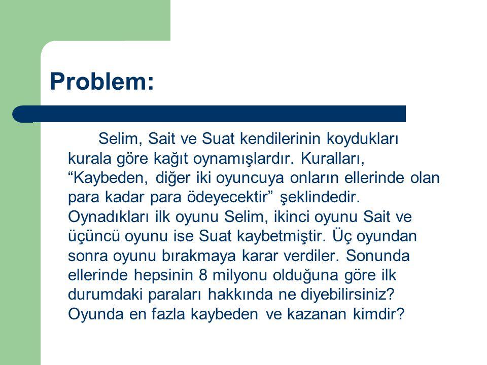 """Selim, Sait ve Suat kendilerinin koydukları kurala göre kağıt oynamışlardır. Kuralları, """"Kaybeden, diğer iki oyuncuya onların ellerinde olan para kada"""