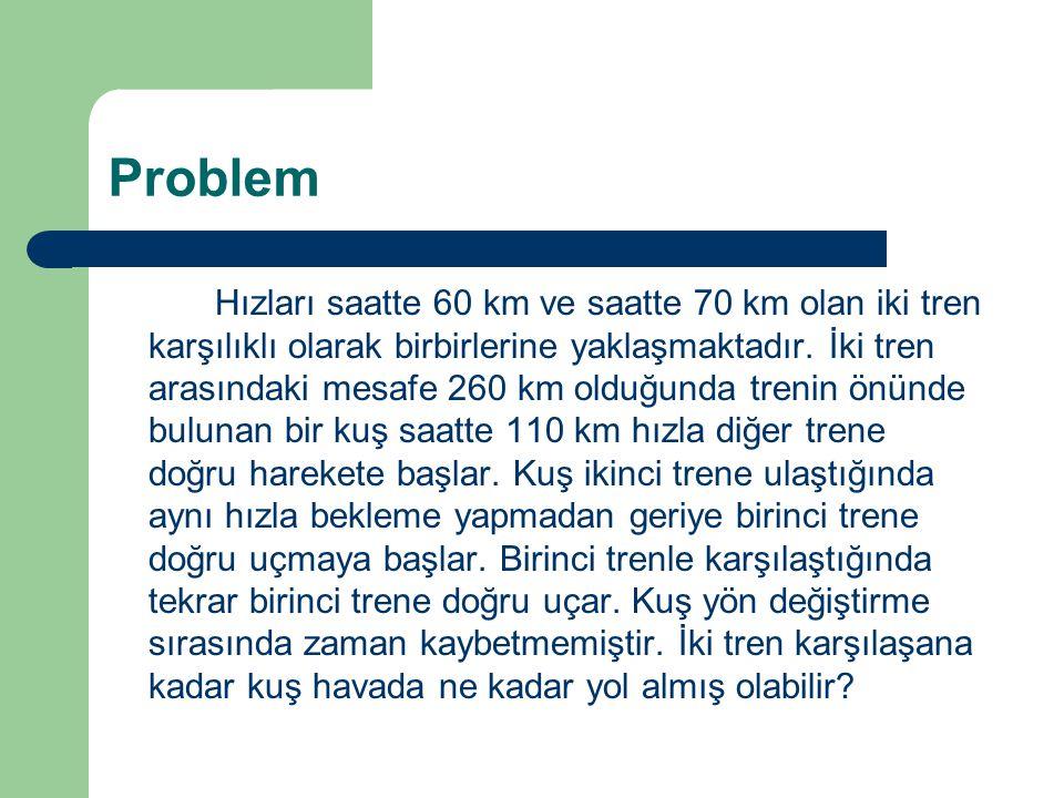 Problem Hızları saatte 60 km ve saatte 70 km olan iki tren karşılıklı olarak birbirlerine yaklaşmaktadır. İki tren arasındaki mesafe 260 km olduğunda