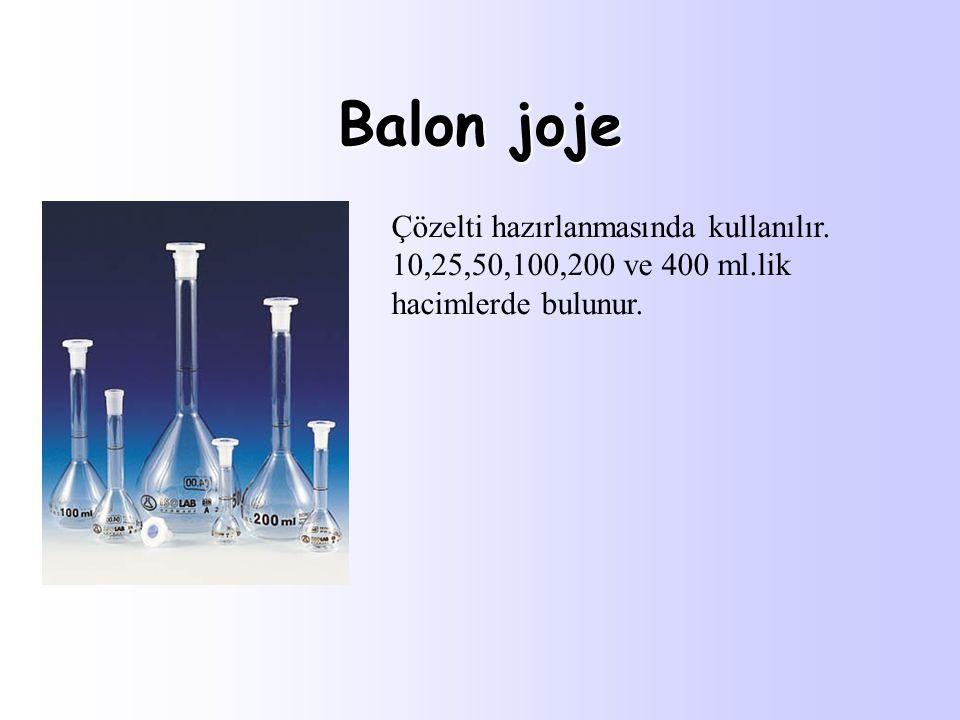 Balon joje Çözelti hazırlanmasında kullanılır. 10,25,50,100,200 ve 400 ml.lik hacimlerde bulunur.