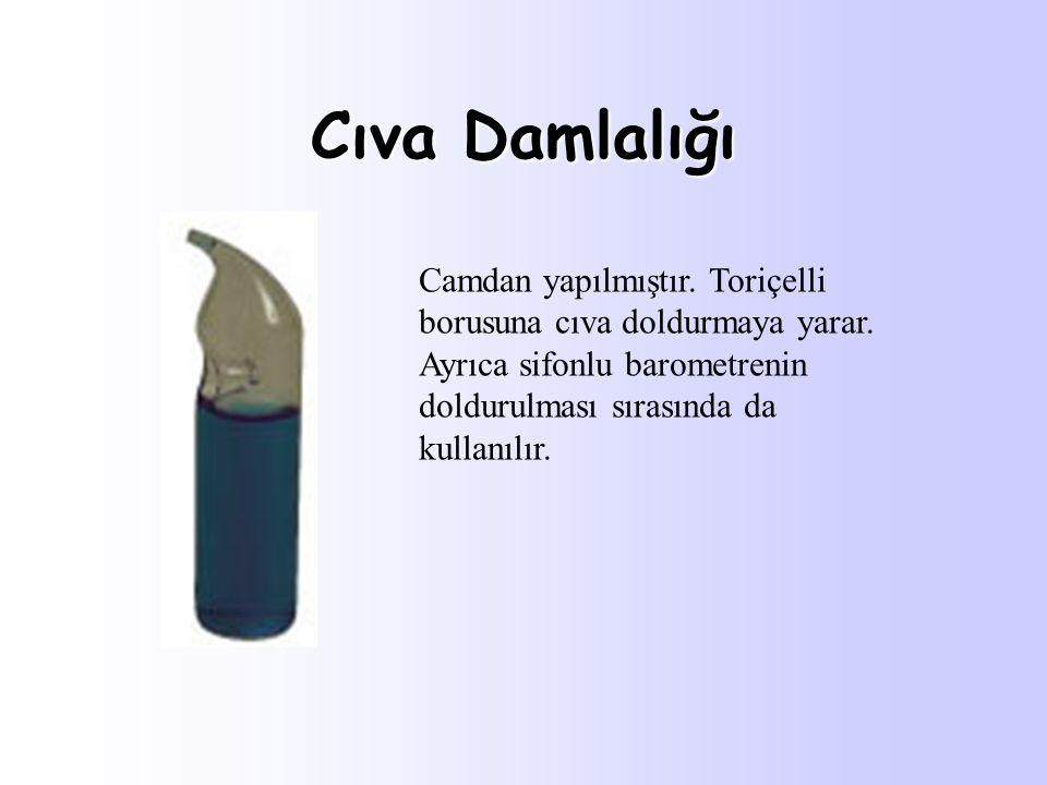 Cıva Damlalığı Camdan yapılmıştır. Toriçelli borusuna cıva doldurmaya yarar. Ayrıca sifonlu barometrenin doldurulması sırasında da kullanılır.