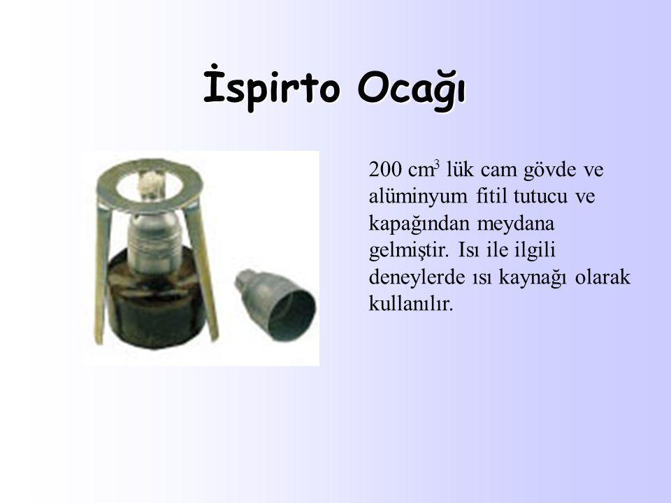 İspirto Ocağı 200 cm 3 lük cam gövde ve alüminyum fitil tutucu ve kapağından meydana gelmiştir. Isı ile ilgili deneylerde ısı kaynağı olarak kullanılı