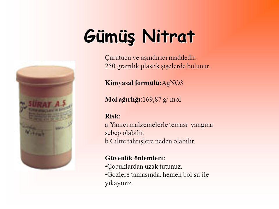 Hidroklorik Asit Kimyasal deneylerde kullanılır.1 litrelik renkli cam şişelerde bulunur.