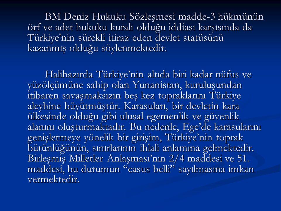 BM Deniz Hukuku Sözleşmesi madde-3 hükmünün örf ve adet hukuku kuralı olduğu iddiası karşısında da Türkiye'nin sürekli itiraz eden devlet statüsünü ka