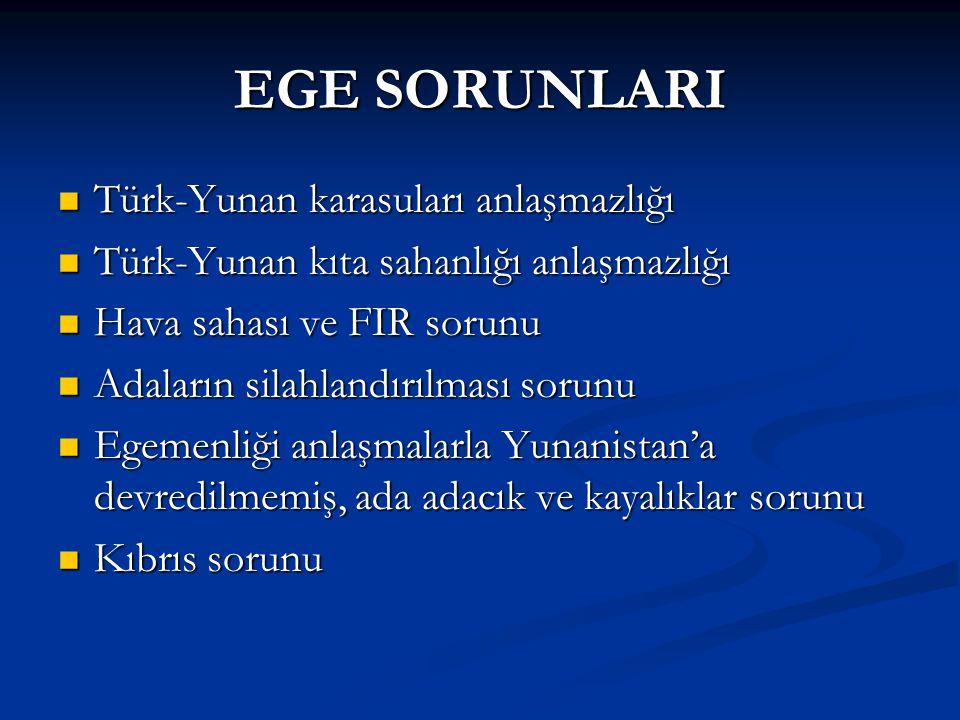 EGE SORUNLARI Türk-Yunan karasuları anlaşmazlığı Türk-Yunan karasuları anlaşmazlığı Türk-Yunan kıta sahanlığı anlaşmazlığı Türk-Yunan kıta sahanlığı a