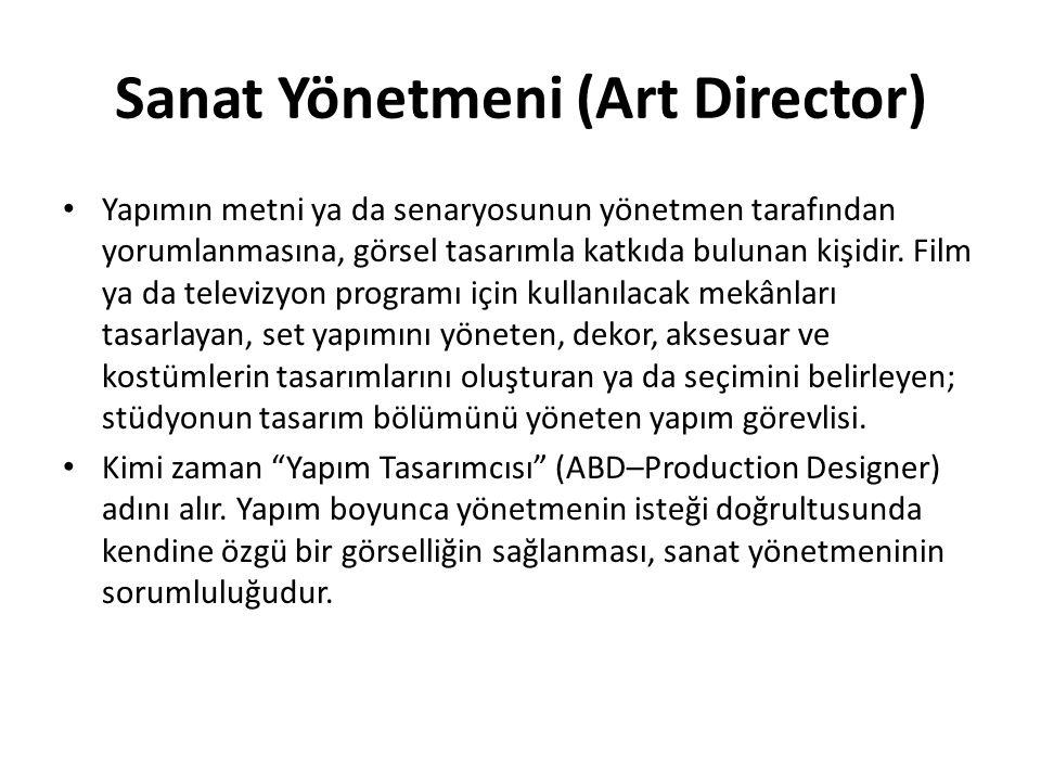 Sanat Yönetmeni (Art Director) Yapımın metni ya da senaryosunun yönetmen tarafından yorumlanmasına, görsel tasarımla katkıda bulunan kişidir. Film ya