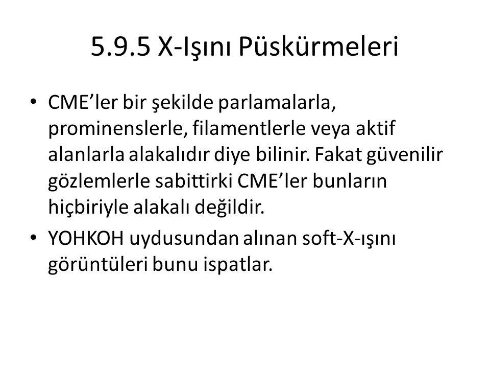 5.9.5 X-Işını Püskürmeleri CME'ler bir şekilde parlamalarla, prominenslerle, filamentlerle veya aktif alanlarla alakalıdır diye bilinir.