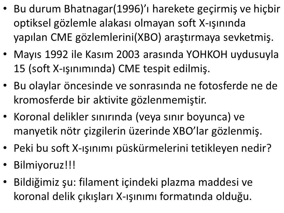 Bu durum Bhatnagar(1996)'ı harekete geçirmiş ve hiçbir optiksel gözlemle alakası olmayan soft X-ışınında yapılan CME gözlemlerini(XBO) araştırmaya sev